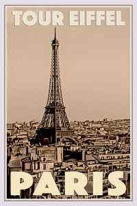 Vintage travel Poster - PARIS TOUR EIFFEL (limited-to-50XL edition) - Affiche retro