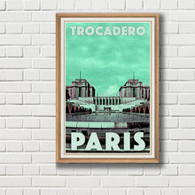 Load image into Gallery viewer, Framed vintage poster of TROCADERO  - Vintage travel poster of Paris