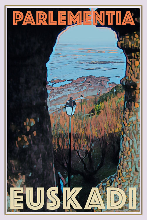 retro poster of Parlementia surf spot Guethary France