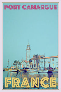 affiche retro port camargue france