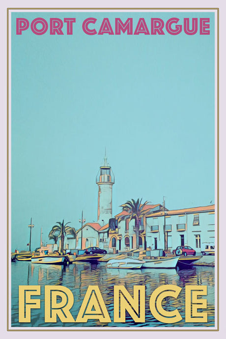retro poster port camargue France