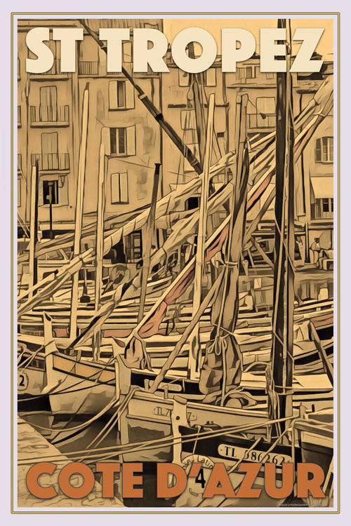 Vintage poster of Boats in St Tropez - affiche retro