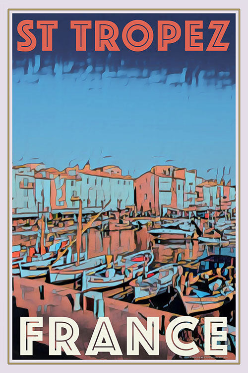 Vintage poster of the port St Tropez France