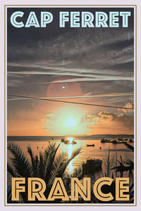 retro poster sunrise cap ferret - France