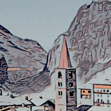 Load image into Gallery viewer, Details of VAL D'ISERE VILLAGE - Vintage travel poster france
