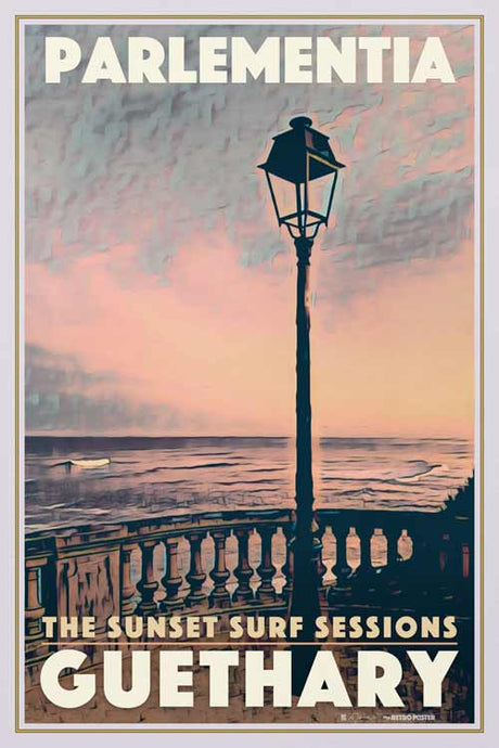 Vintage Poster Guethary Sunset - Original Retro Art Print Pays Basque