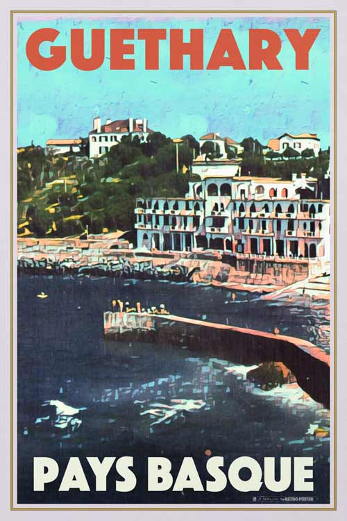 Vintage poster Guethary from the port - Retro poster Basque Country