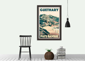 Vintage travel poster GUETHARY PANORAMA - Original Art Print Basque Country