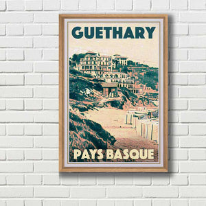 Framed poster GUETHARY PANORAMA - Retro poster Basque Country