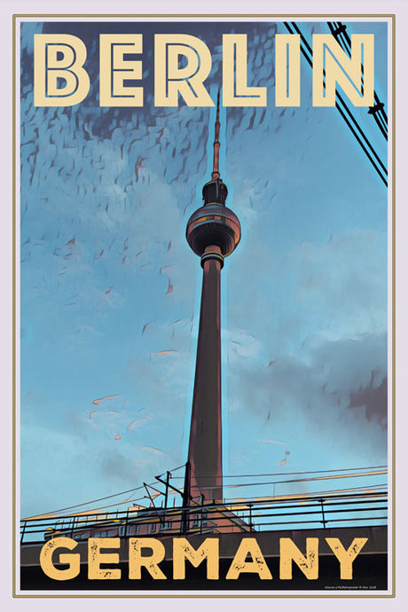 vintage poster of Fernsehturm tower Berlin - Retro poster Germany