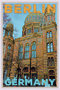 vintage poster of the new synagogue in Berlin