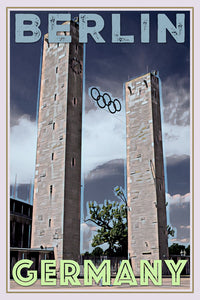 retro poster olympic stadium Berlin Germany