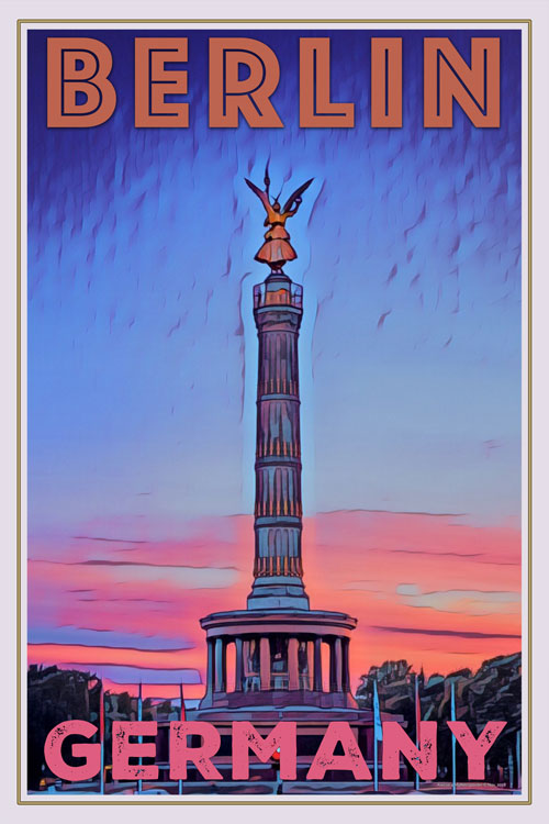 retro poster victory column berlin germany