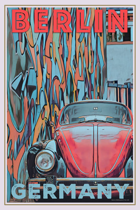 retro poster vw beetle berlin germany
