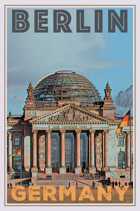 retro poster reichstag berlin germany