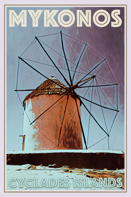 vintage poster of a windmill in Mykonos Greece