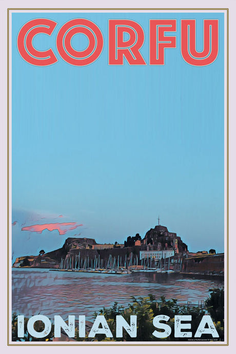 vintage retro poster corfu port greece