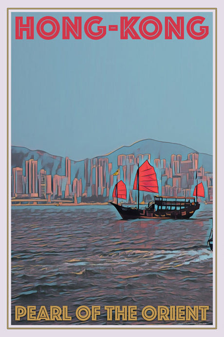 retro poster old boat hong-kong pearl of the orient