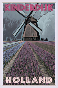 vintage poster of a Kinderdijk windmill in Holland