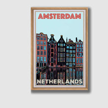 Load image into Gallery viewer, Framed Vintage poster Amsterdam 3 - Retro Poster Netherlands Art Print