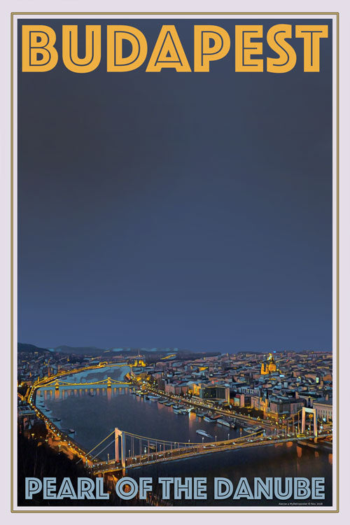 retro poster Budapest Pearl of the Danube Hungary