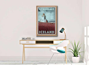 Vintage Art Print Dyholaey Lighthouse - Retro poster Iceland