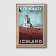 Load image into Gallery viewer, Framed poster Dyrholaey Lighthouse - Retro Art Print Iceland