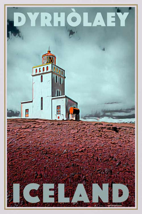 Vintage poster Dyrholaey Lighthouse - Retro poster of Iceland