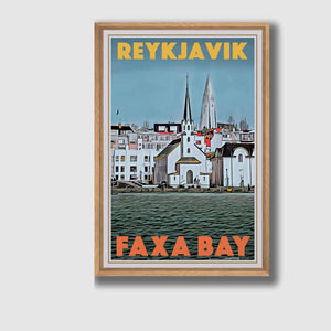 Framed poster Reykjavic Faxa Bay - Retro poster of Iceland