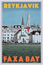 Load image into Gallery viewer, Vintage poster Reykjavic Faxa Bay - Retro poster of Iceland