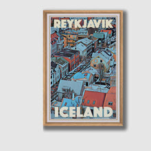 Load image into Gallery viewer, Framed poster Reykjavic Iceland - Retro poster of Iceland