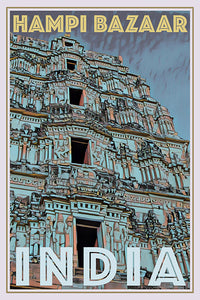 HAMPI TEMPLE - INDIA - Vintage travel poster