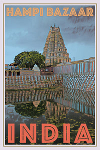 HAMPI BAZAAR - INDIA - Vintage travel poster