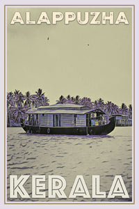 Vintage poster - Alappuzha backwaters houseboat - Affiche retro