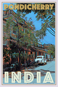 PONDICHERRY STREET INDIA - Affiche de voyage vintage