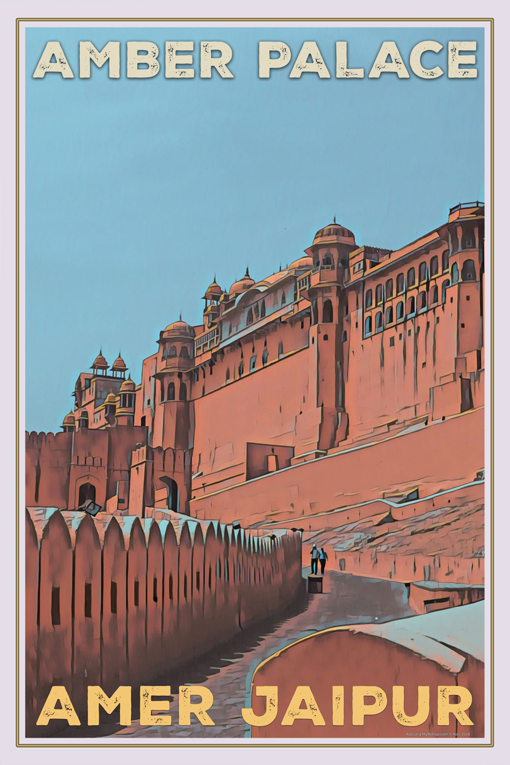 Affiche ancienne - Amber Palace Amer Jaipur - Affiche retro