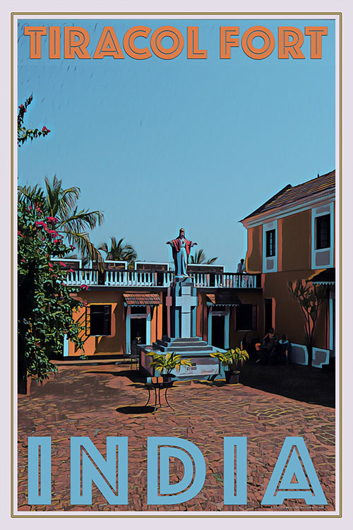 Vintage Poster Goa titled Tiracol Fort - Retro Poster Goa
