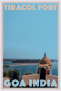 vintage poster of Tiracol Fort, Goa, India
