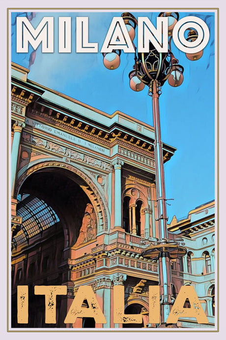 retro poster of old palace in Milan Italy