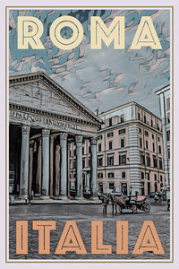 Vintage poster of Pantheon in Roma Italy