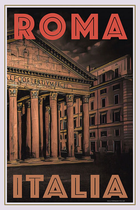 Retro poster diptych 2 of Pantheon Roma Italy