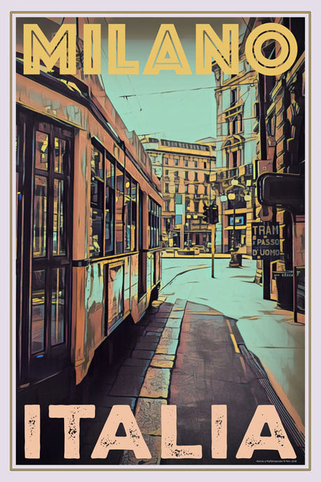 retro poster of tram in Milan Street Italy