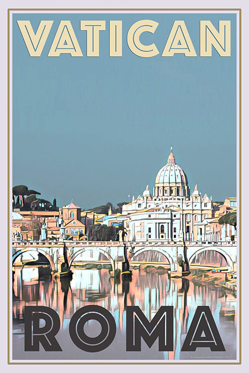 Retro poster of the Vatican in Roma Italy