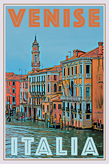Retro poster Grand Canal Venice Italy