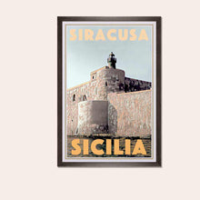 Load image into Gallery viewer, Framed poster SIRACUSA FORT - Retro Poster Sicilia