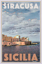 Load image into Gallery viewer, Vintage poster SIRACUSA SEA FRONT - poster of Sicily Italy