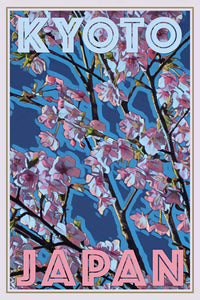 retro poster of cherry blossoms  Kyoto