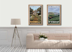 Etretat vibe with those 2 vintage art prints of the Gardens of Etretat, Normandy