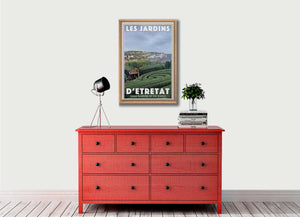 Vintage Art Print GARDENS OF ETRETAT CLIFFS - Retro poster NORMANDY