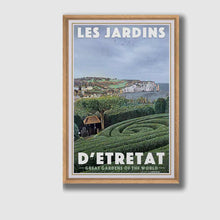 Load image into Gallery viewer, Framed poster GARDENS OF ETRETAT CLIFFS - Retro poster NORMANDY